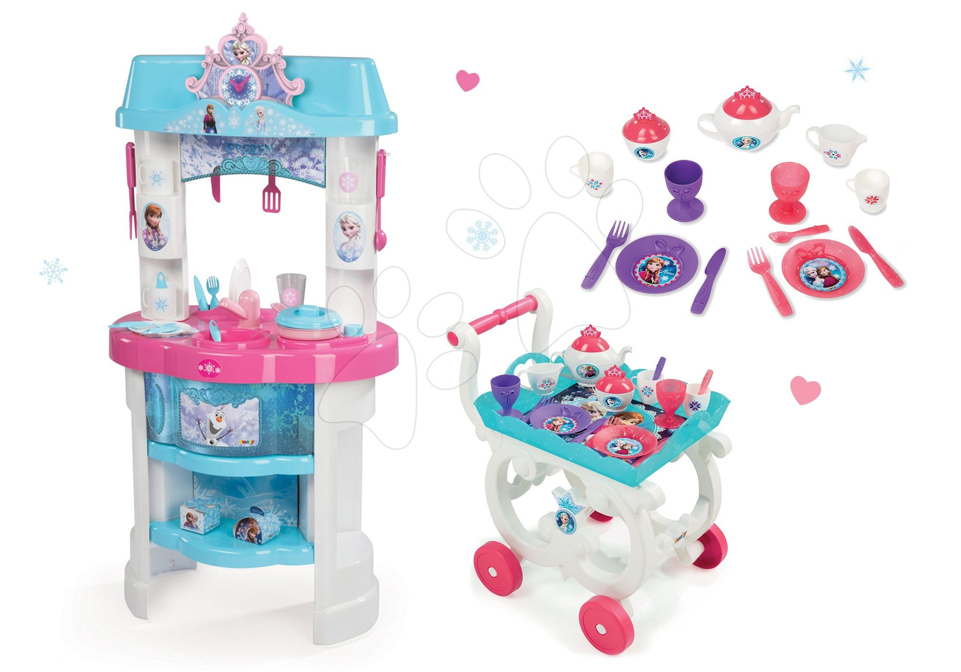 Kuchynky pre deti sety - Set kuchynka Frozen Smoby s trblietkam a čajová súprava na servírovacom vozíku