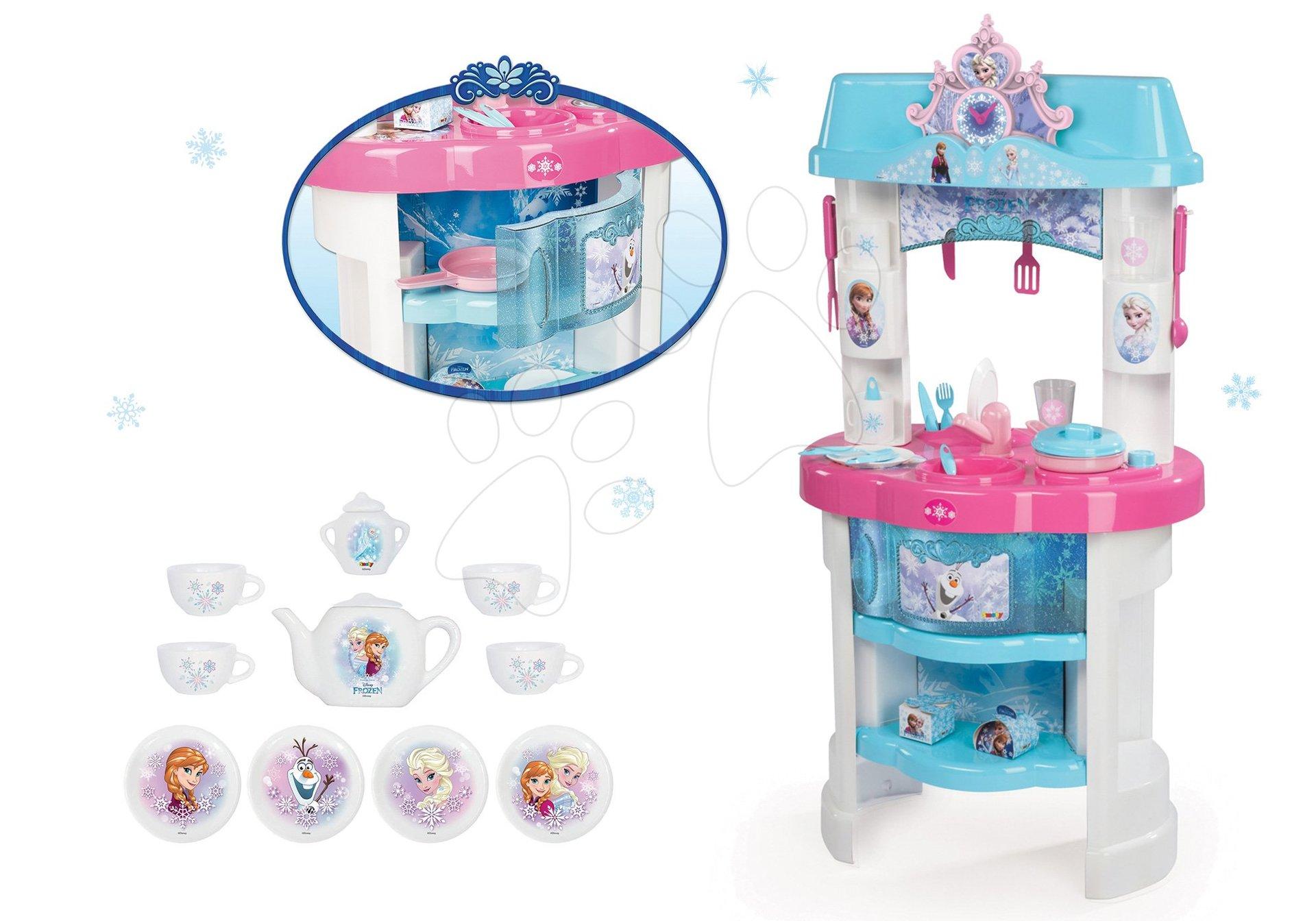 Komplet otroške kuhinje Frozen Smoby z bleščicami in porcelanasti set Frozen