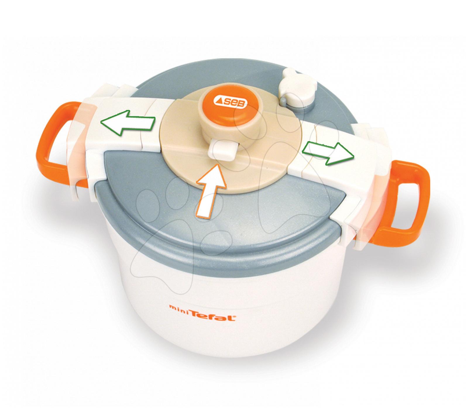Spotrebiče do kuchynky - Tlakový hrniec Mini Tefal Smoby s mechanickým zvukom bielo-oranžový