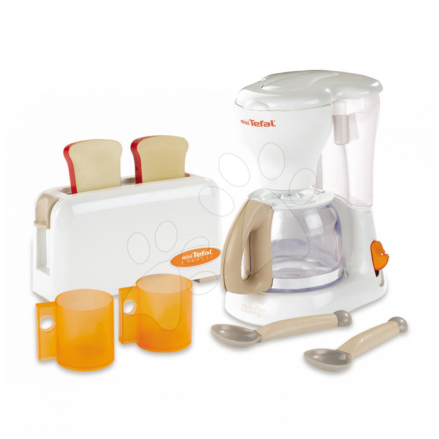 Raňajková sada s kávovarom a toasterom Mini Tefal Smoby s 8 doplnkami biely