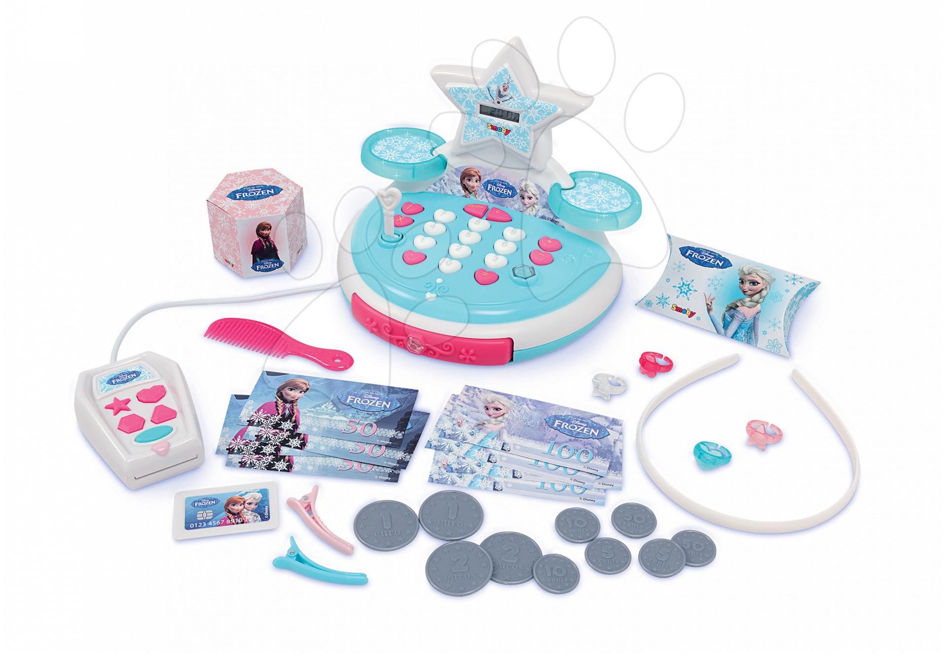 Obchody pre deti - Pokladňa Frozen Smoby mechanická s doplnkami