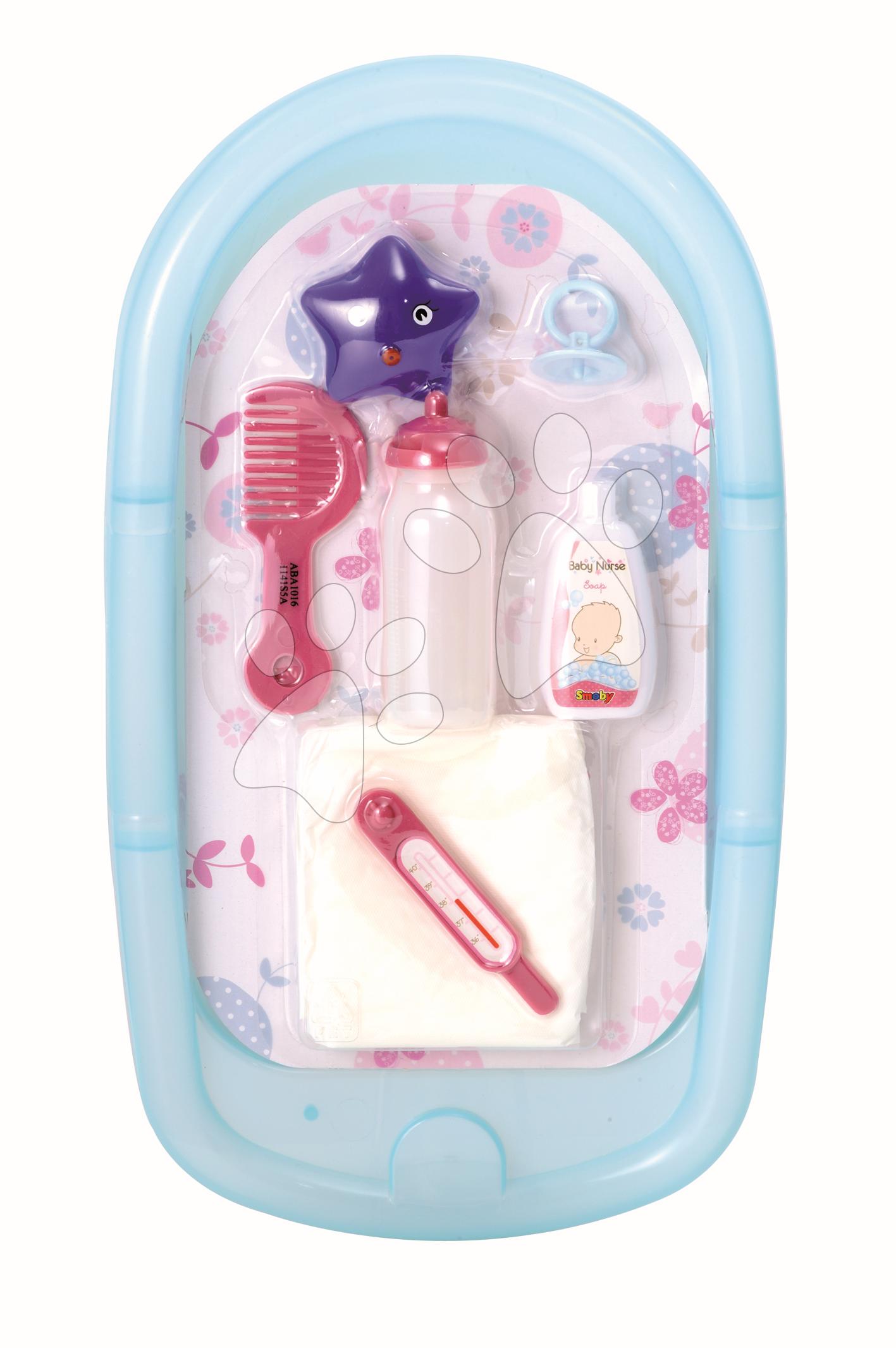 Staré položky - Vanička Baby Nurse Smoby na kúpanie bábiky (42 cm) +8 doplnkov