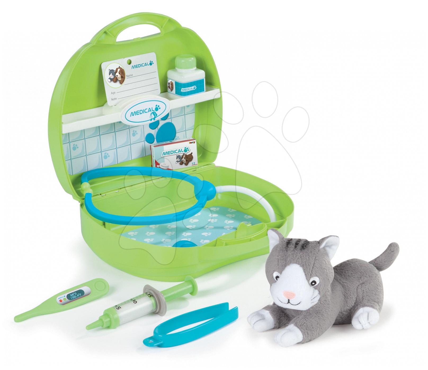 Cărucioare medicale pentru copii - Trusă medicală cu animal Smoby din pluş şi 8 accesorii