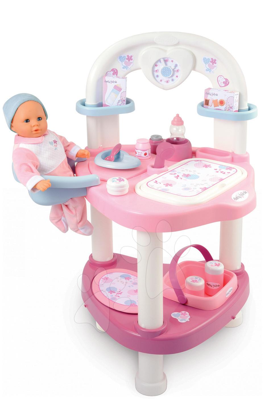 Domčeky pre bábiky sety - Prebaľovací stôl pre bábiku Baby Nurse Srdiečko Smoby s 10 doplnkami