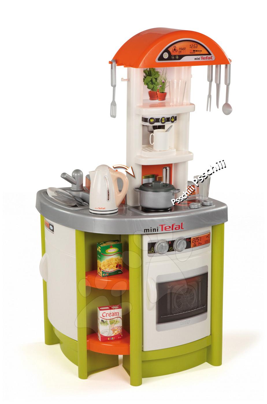 Kuchynka Tefal Studio Smoby elektronická s rýchlovarnou kanvicou a 19 doplnkami zelená
