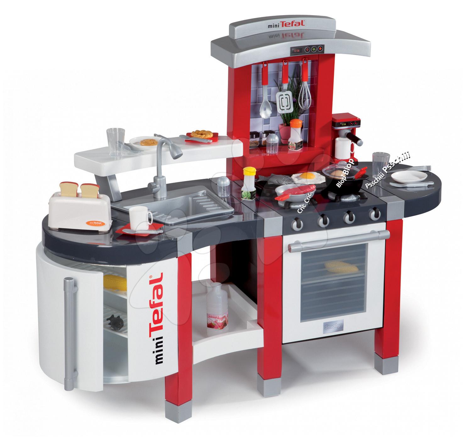 Elektronické kuchyňky - Kuchyňka Tefal SuperChef Smoby elektronická se zvuky, s jídelním pultem a 37 doplňky (toaster)