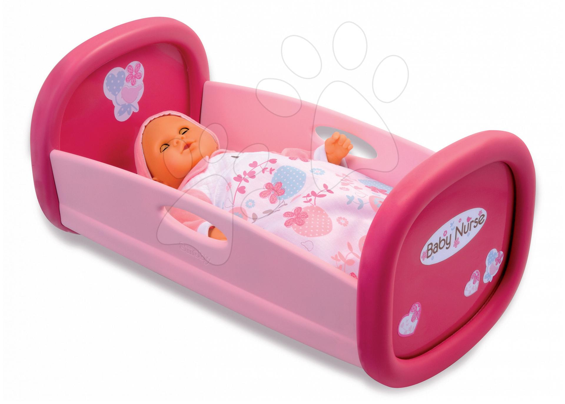 Postýlky a kolébky pro panenky - Kolébka pro panenku 42 cm Baby Nurse Smoby růžová s kytičkami a srdíčky od 18 měsíců