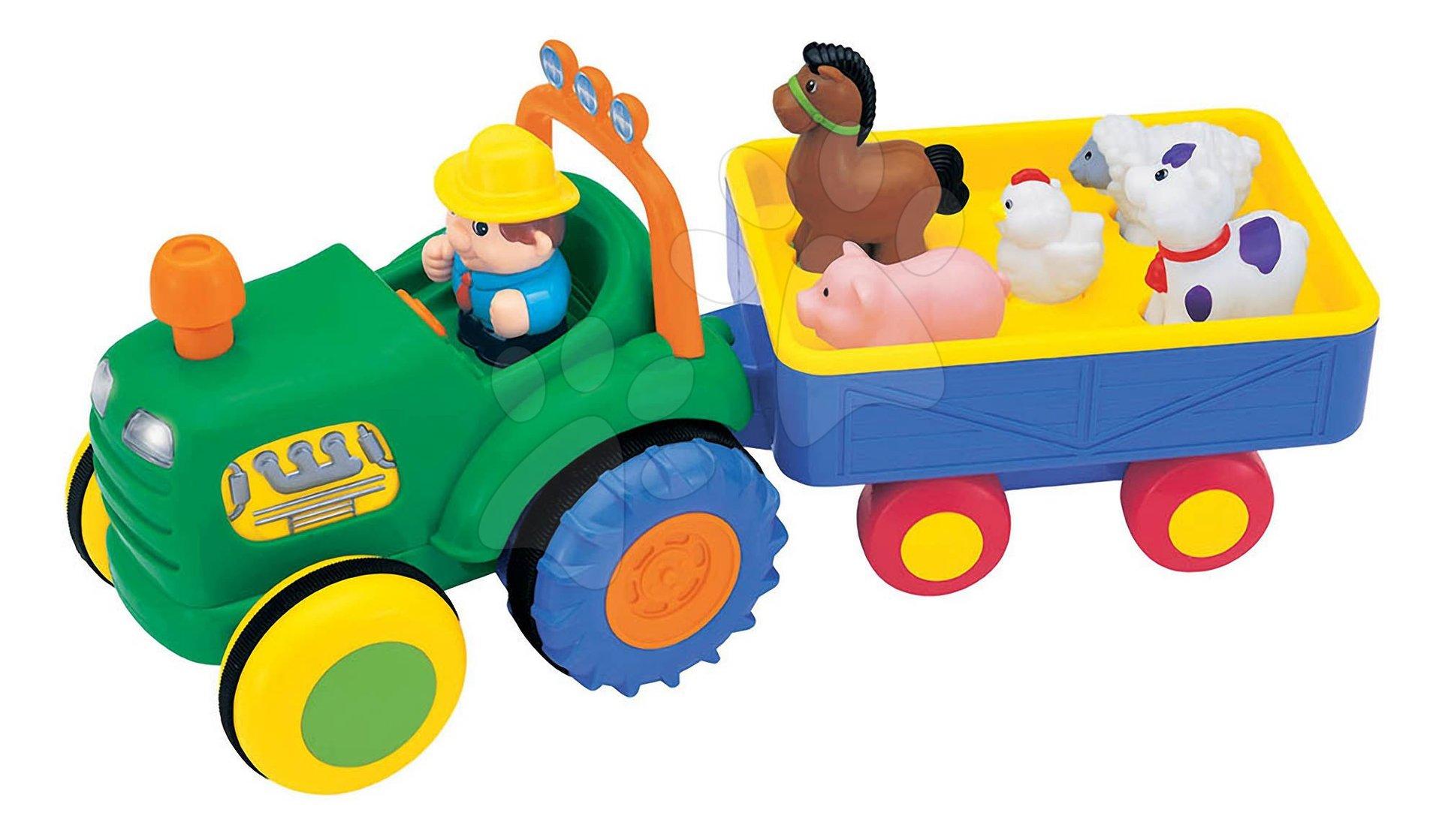 Hračky zvukové - Traktor se zvířátky Activity Kiddieland se zvukem a světlem zelený od 12 měsíců