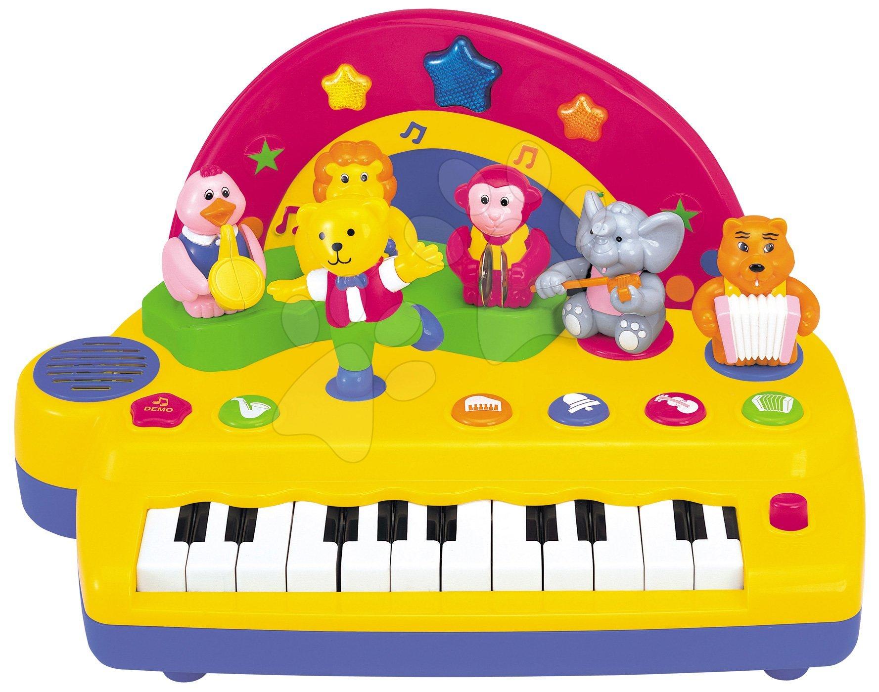 Hračky zvukové - Piano Activity Kiddieland so zvieratkami, zvukom a svetlami dúhové od 12 mes