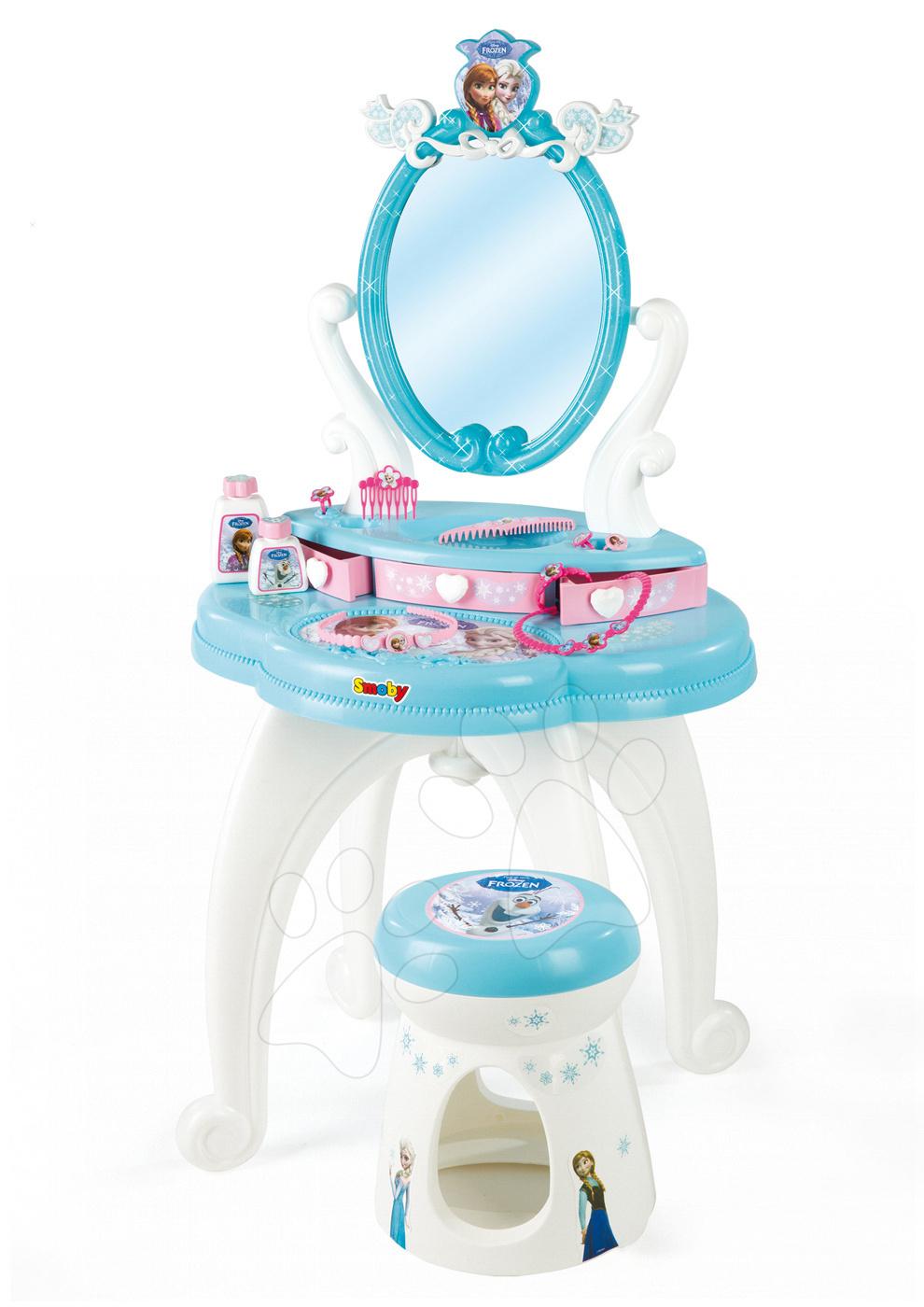 Kozmetický stolík Frozen 2v1 Smoby so stoličkou a 10 doplnkami