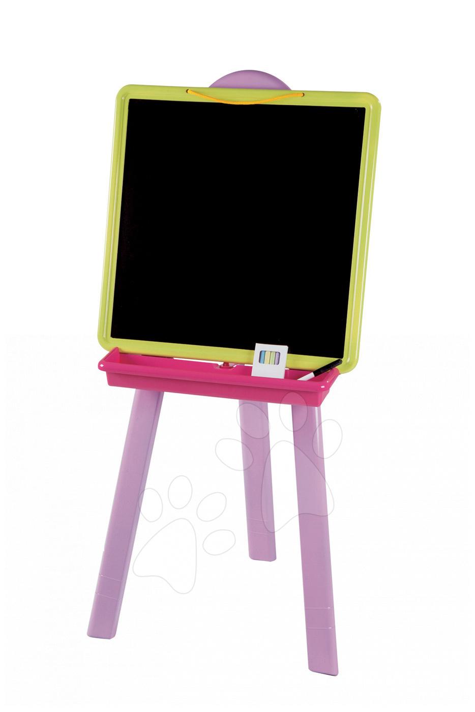 Školské tabule - Školská tabuľa 2v1 Smoby magnetická, obojstranná na zavesenie so 7 doplnkami ružovo-zelená