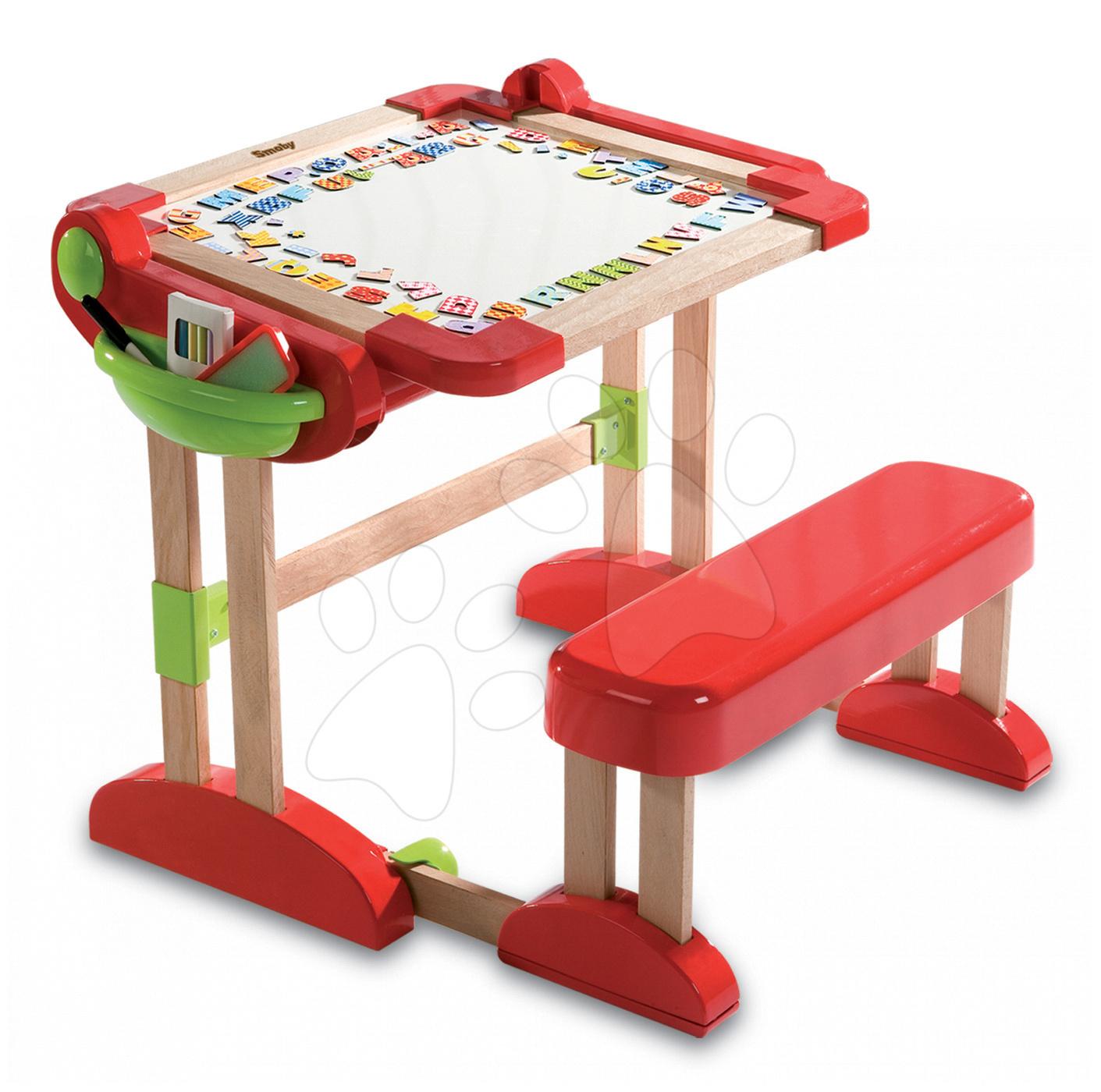 Školní lavice - Dřevěná školní lavice Activity 2v1 Smoby skládací s oboustrannou tabulí a 61 doplňky