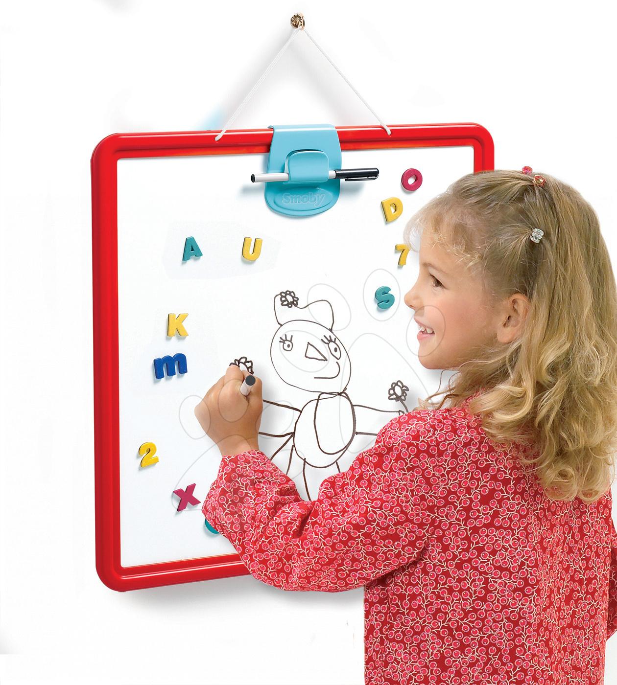 Tablă de învăţat și desenat pentru jocuri Smoby magnetică, cu două feţe, care se poate atârna, cu marker roşu