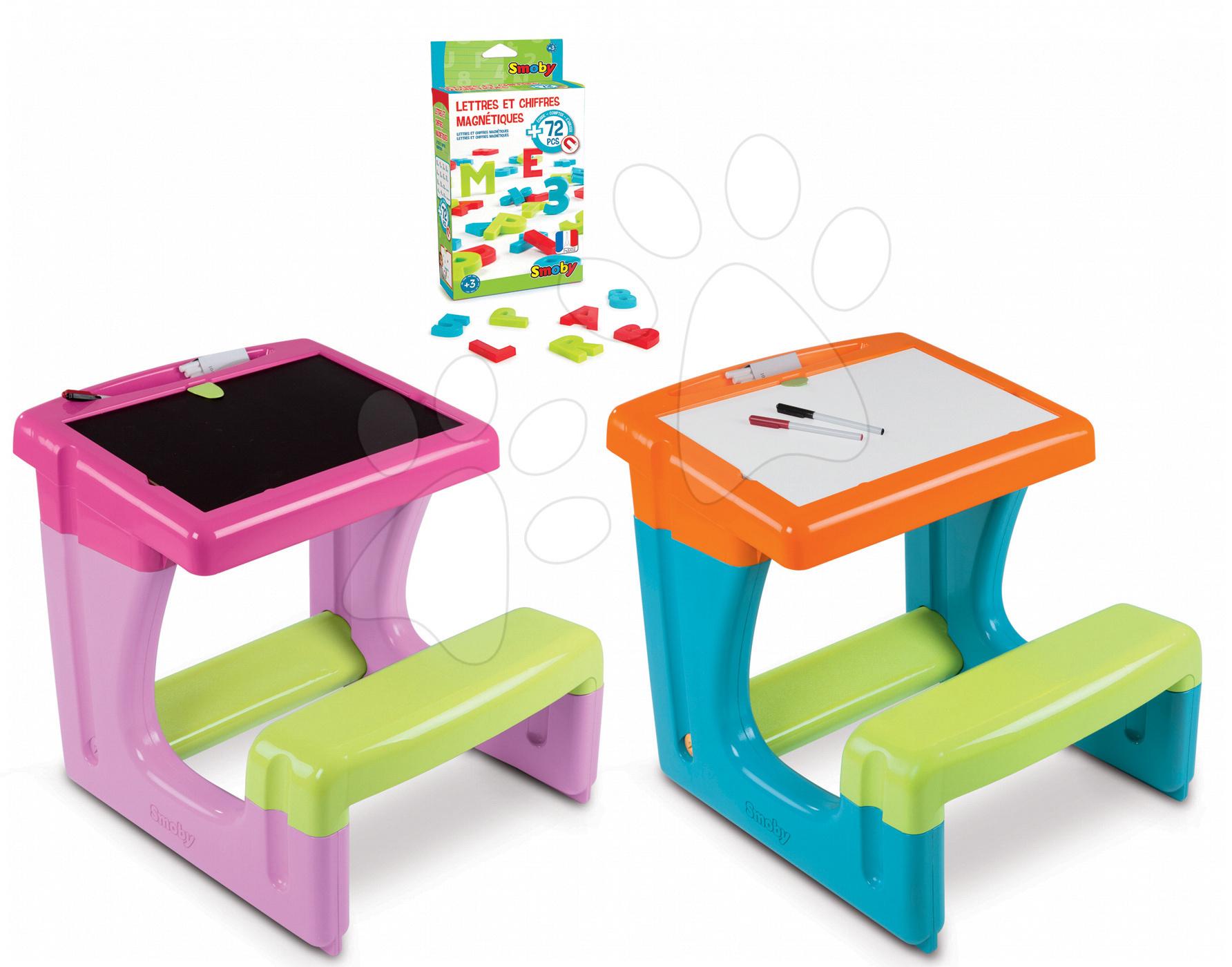 Školní lavice - Školní lavice Smoby s úložným prostorem a magnetickými písmeny a číslicemi 72 ks růžová/modrá