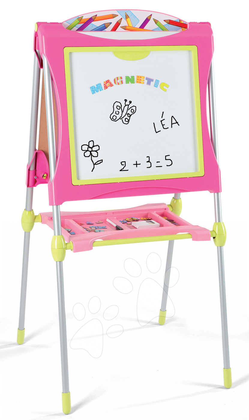 Školní tabule na hraní Smoby magnetická, oboustranná s poličkou, kovovou konstrukcí a 60 doplňky růžová