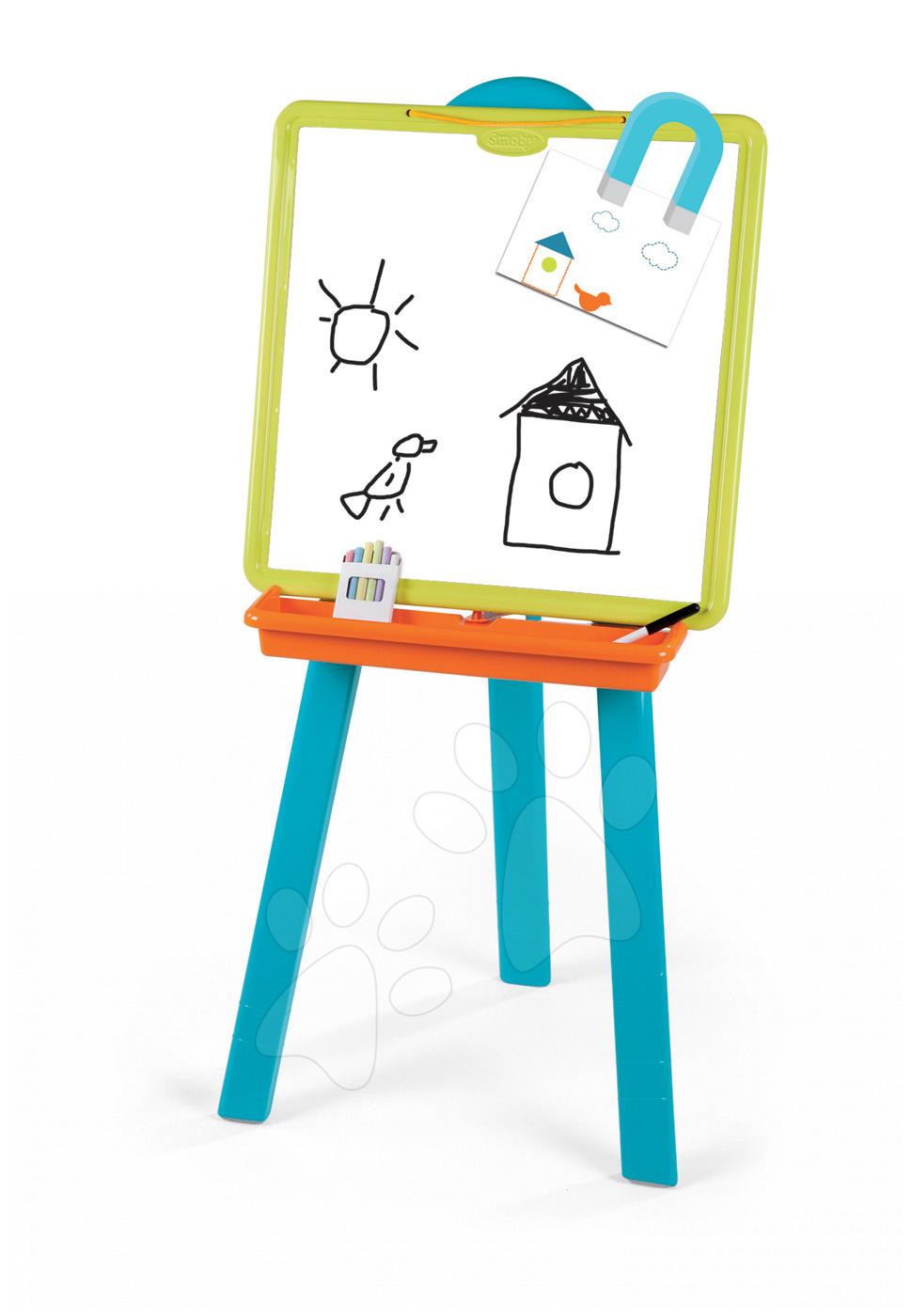 Školní tabule - Školní magnetická tabule 2v1 Smoby oboustranná se 7 doplňky zeleno-modrá
