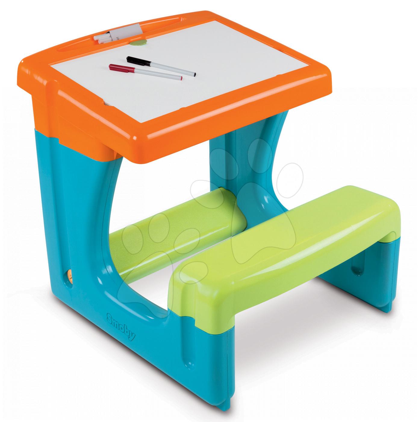 Školní lavice Smoby s úložným prostorem a 8 doplňky modro-oranžová