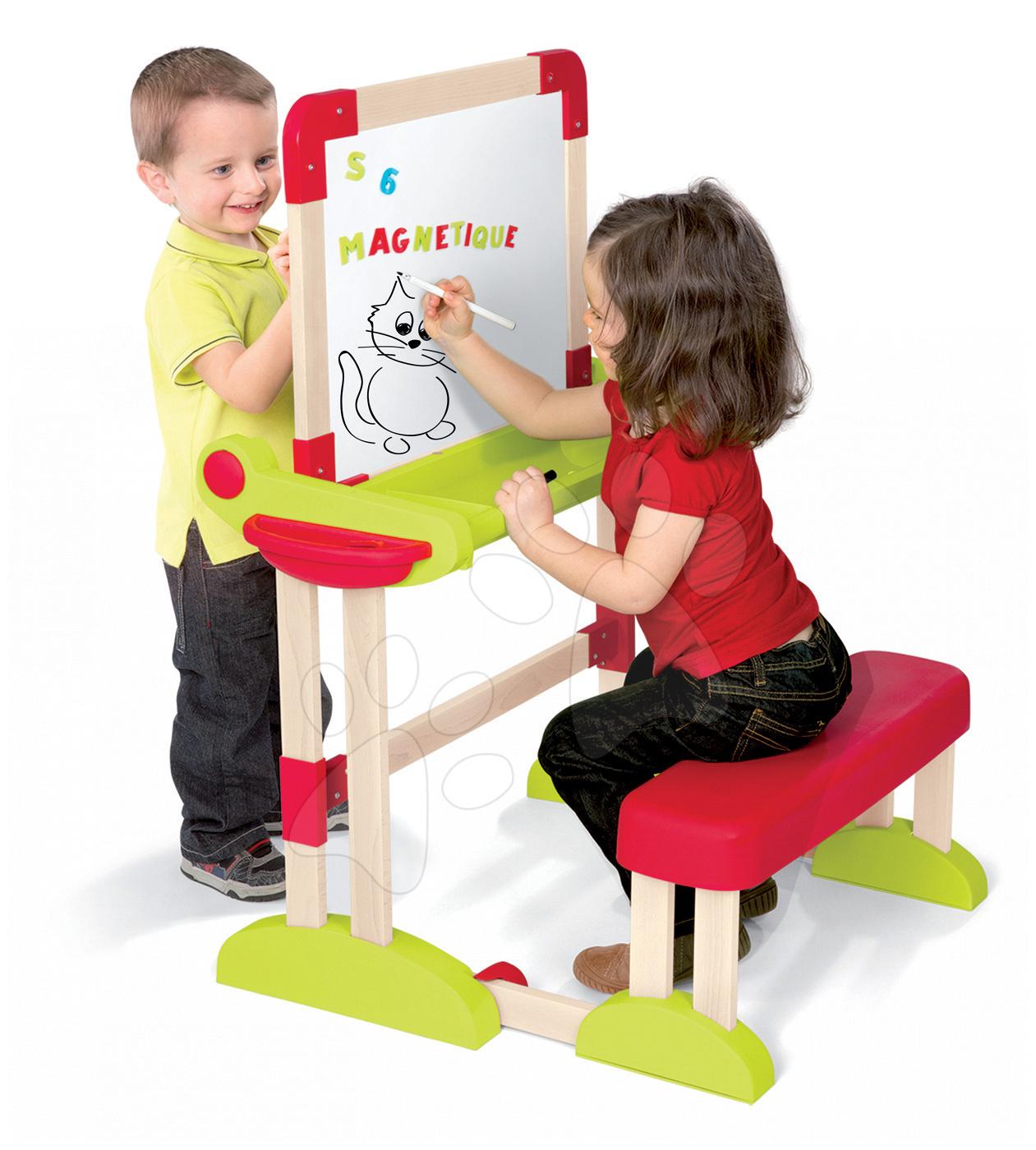 Školské lavice - Drevená školská lavica Modulo Space Smoby obojstranná skladacia s 80 doplnkami