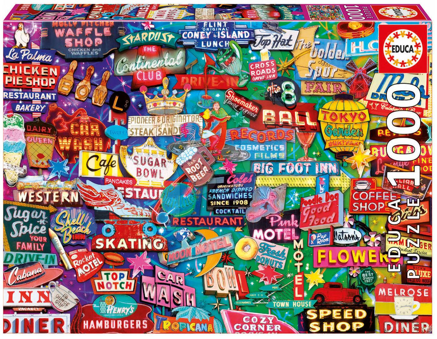 Puzzle 1000 dielne - Puzzle Genuine Retro neon dream Educa 1000 dielov od 12 rokov