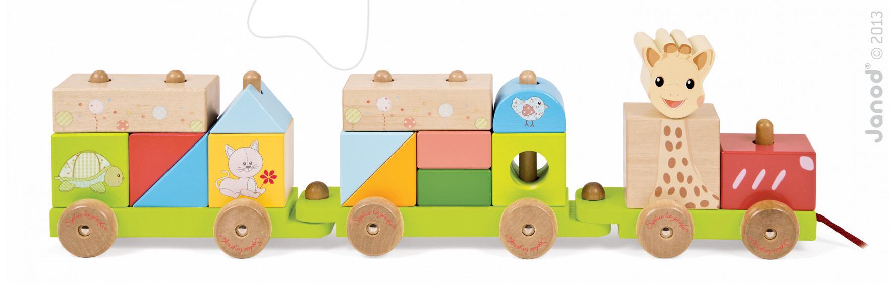 Ťahacie hračky - Drevený vláčik Sophie The Giraffe Janod s kockami od 18 mes