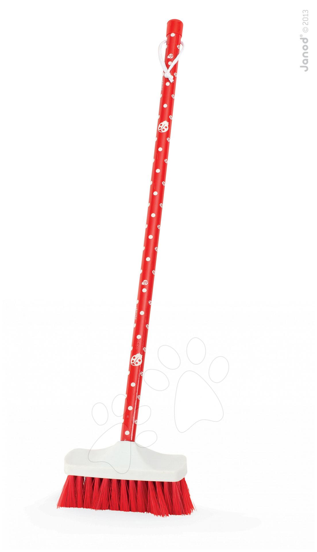 Dětská metla Cocco Janod s dřevěnou rukojetí červená