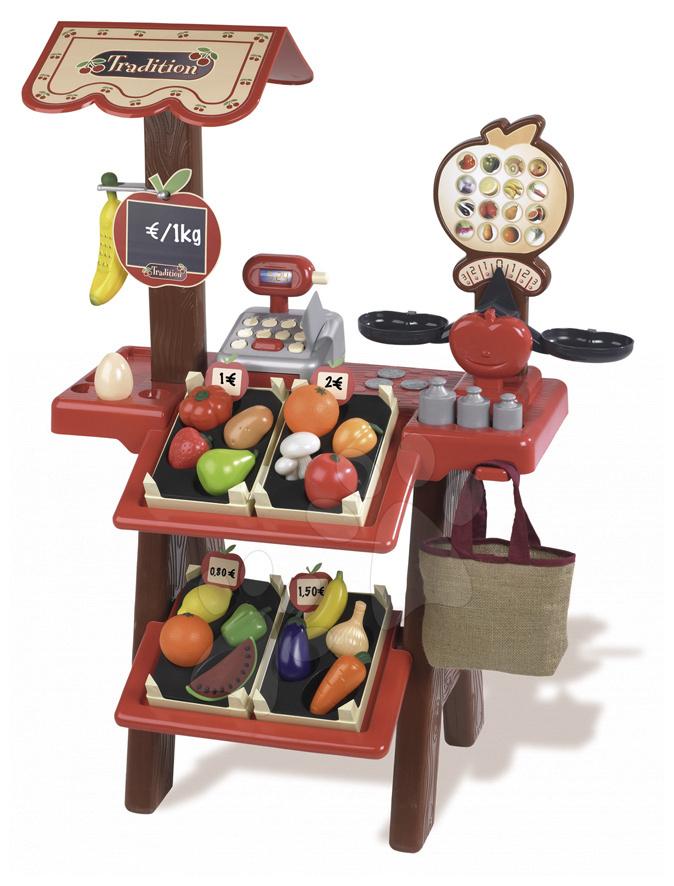 Berchet obchod Tradition Ovoce a zelenina Smoby s 45 doplňky