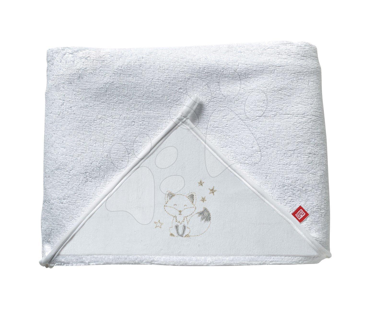 Kojenecká osuška s kapucí Red Castle Fleur de Coton® extra velká měkká White Happy Fox 100x100 cm bílá od 0 měsíců