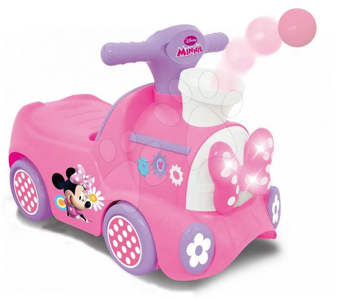 Odrážadlá so zvukom - Elektronické odrážadlo Disney Minnie Kiddieland vláčik s vystreľujúcimi loptičkami ružové od 12 mes