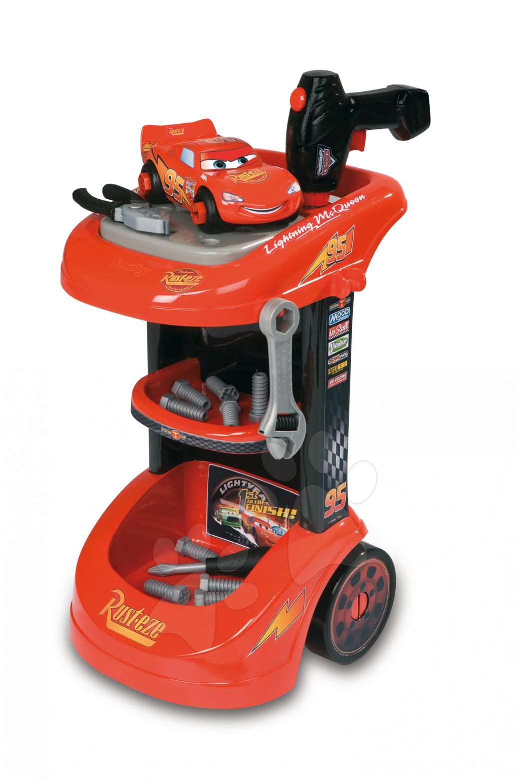 Staré položky - Cars Diy Trolley pracovní vozík Smoby s autíčkem a 27 dílů