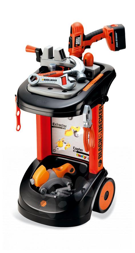 SMOBY 500053 dětský pracovní vozík Black&Decker s mechanickou vrtačkou od 3 let