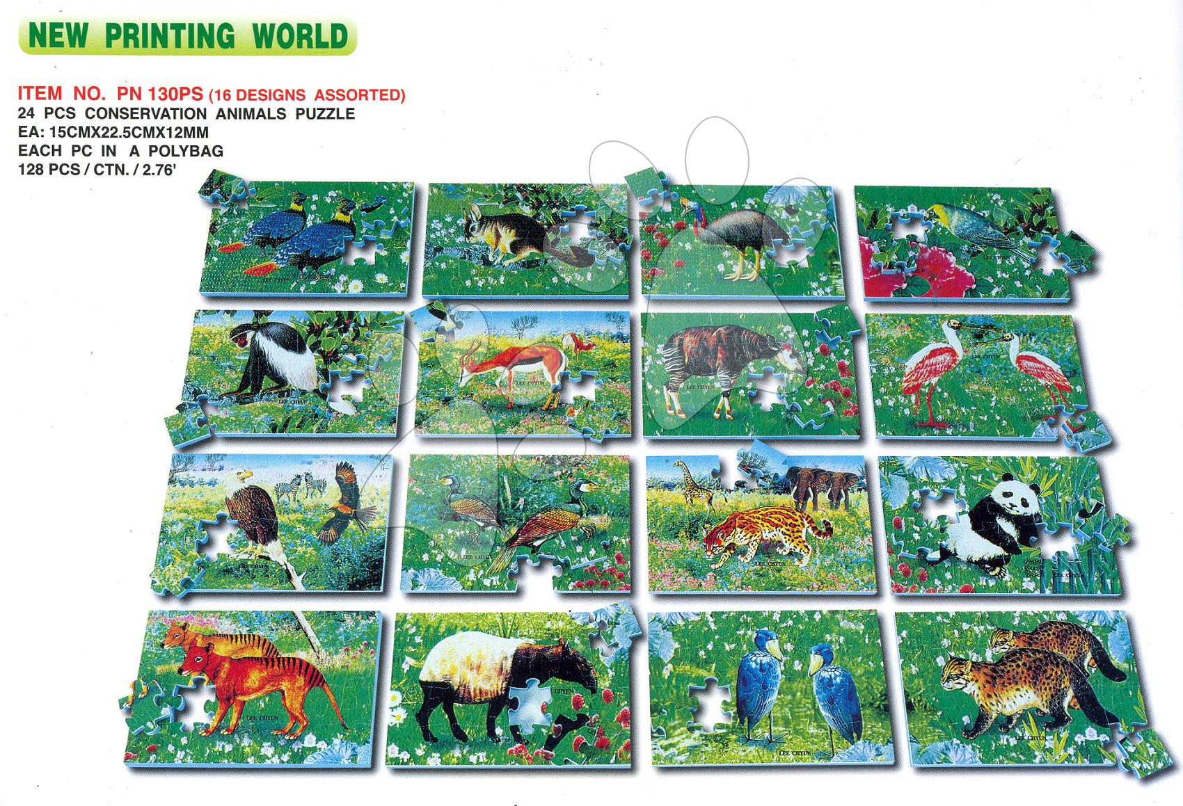 Pěnové puzzle divoké zvířátka LEE 24 ks