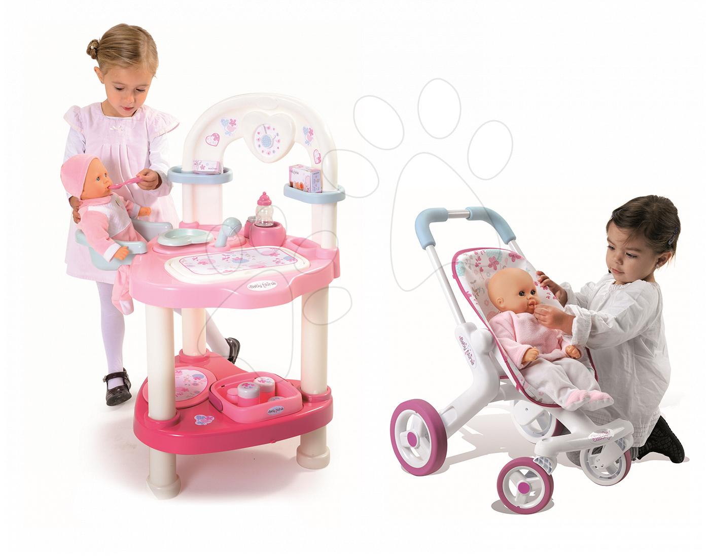 Domčeky pre bábiky sety - Set prebaľovací stôl pre bábiku Baby Nurse Srdiečko Smoby a športový kočík (53,5 cm rúčka) od 3 rokov