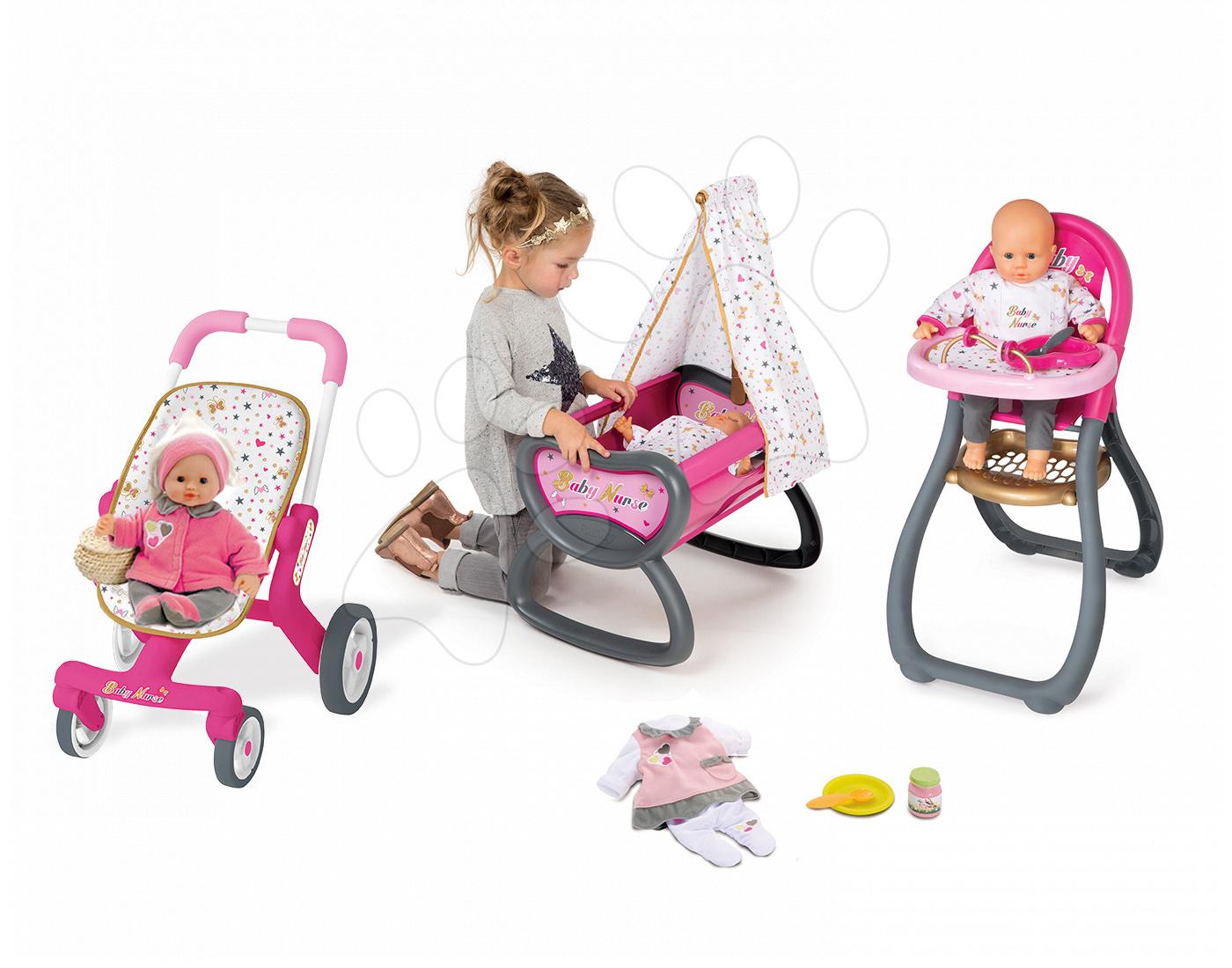 Set panenka Baby Nurse Smoby 32 cm, jídelní židle, kolébka s baldachýnem a kočárek pro panenku (53,5 cm ručka) od 2 let