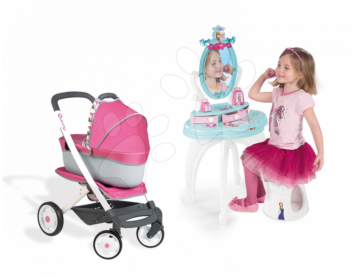 Set kosmetický stolek pro děti Frozen Smoby se židlí a kočárek pro panenku Maxi Cosi & Quinny 3v1 (70 cm ručka)