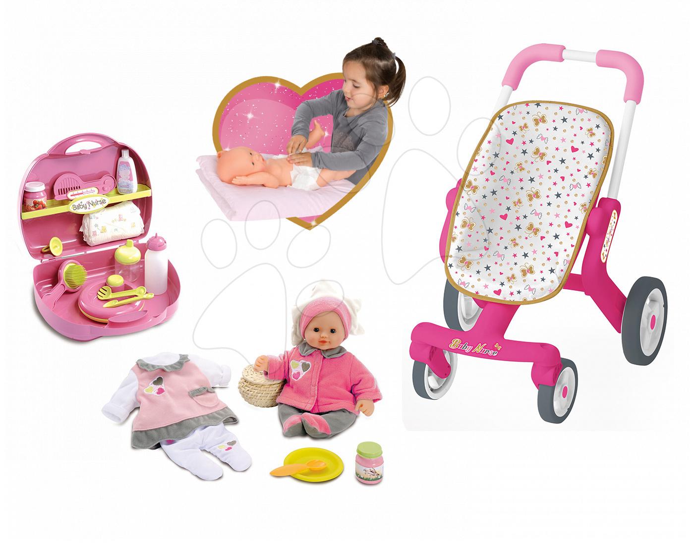Set panenka Baby Nurse Smoby 32 cm, přebalovací set v kufříku a kočárek pro panenku (53,5 cm ručka) od 2 let
