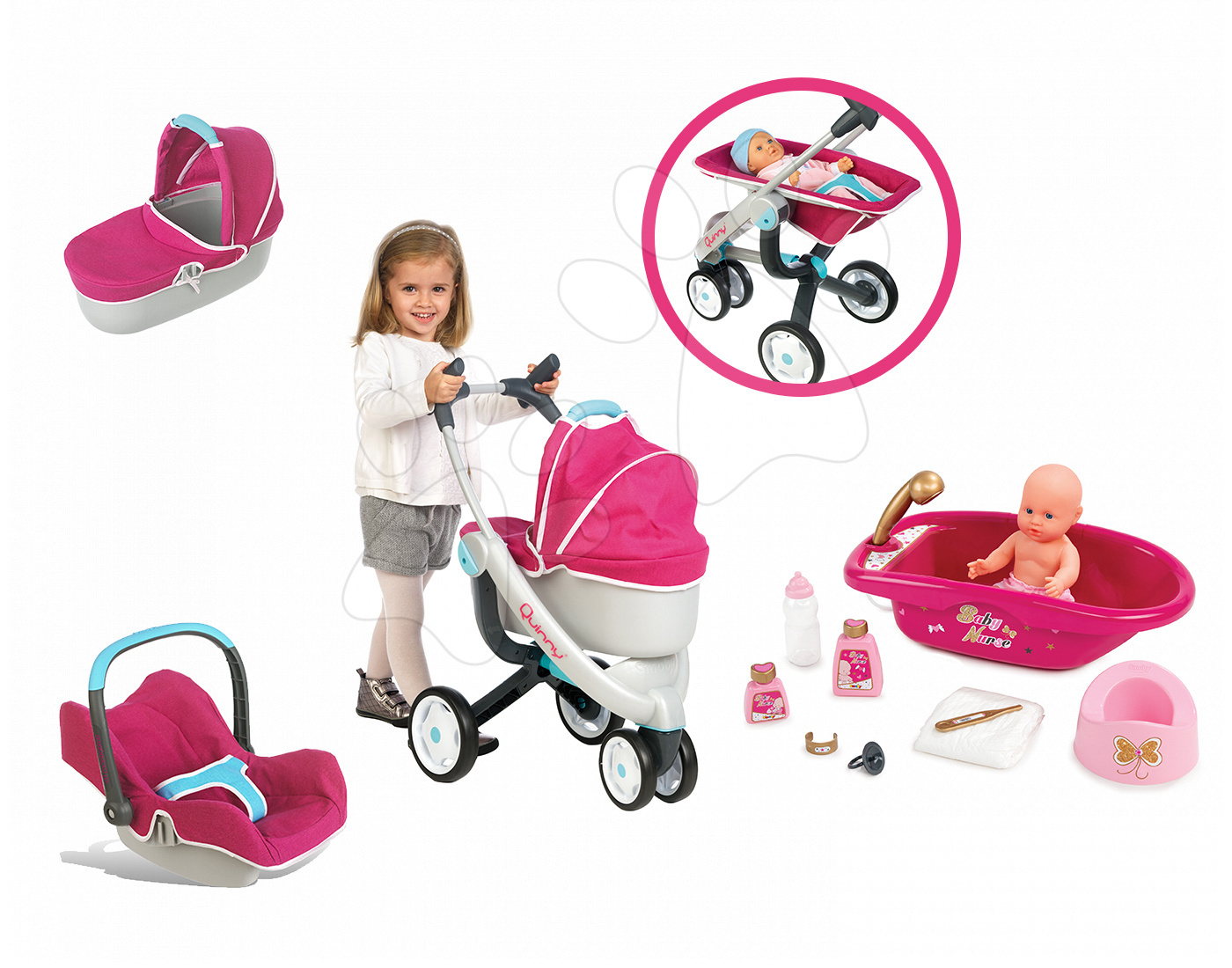 Set kočík pre bábiku Maxi Cosi & Quinny 3v1 Smoby (70 cm rúčka), autosedačka Maxi Cosi & Quinny a vanička Baby Nurse