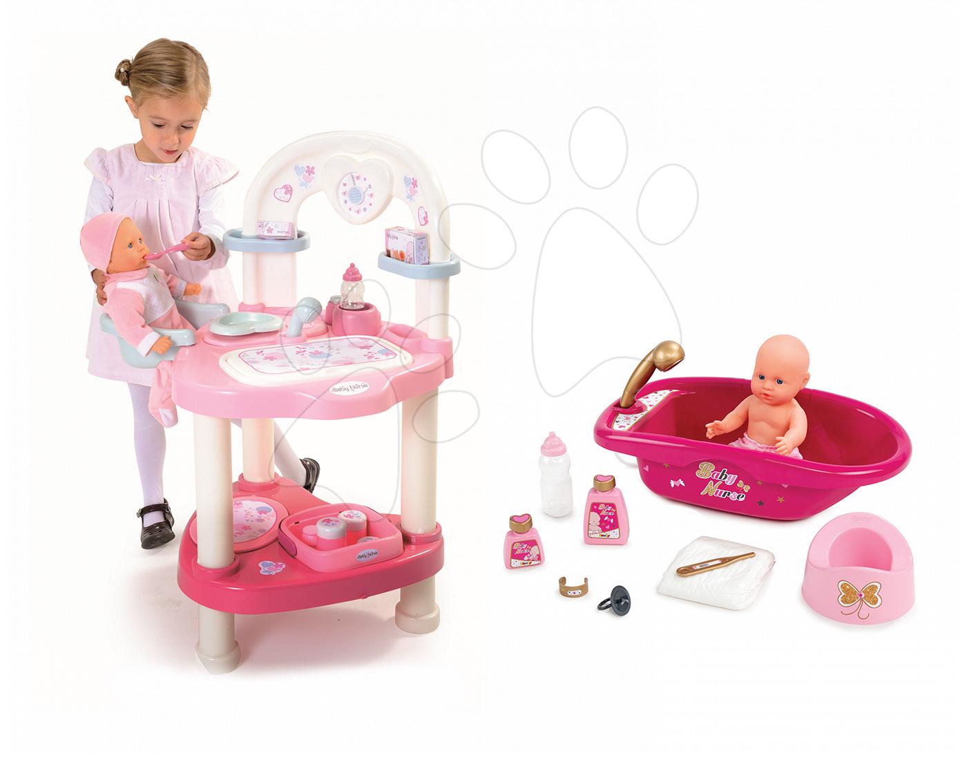 Domčeky pre bábiky sety - Set prebaľovací stôl pre bábiku Baby Nurse Srdiečko Smoby a vanička pre bábiku