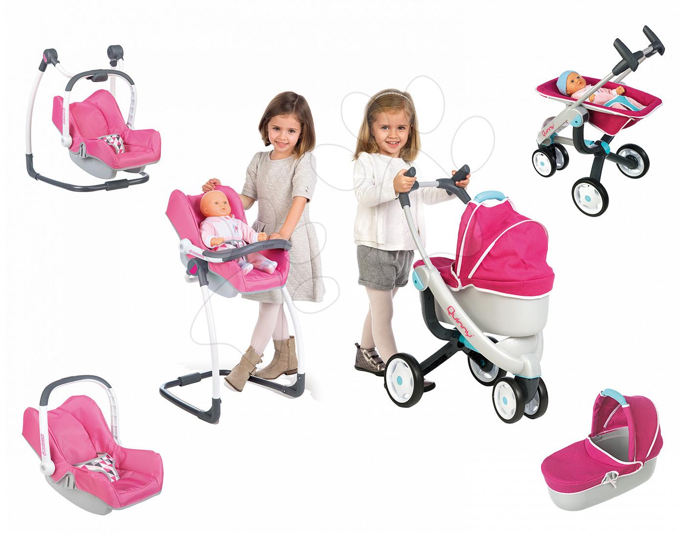 Set kočárek pro panenku Maxi Cosi & Quinny 3v1 Smoby (70 cm ručka) a sada židle, autosedačka a houpačka 3v1