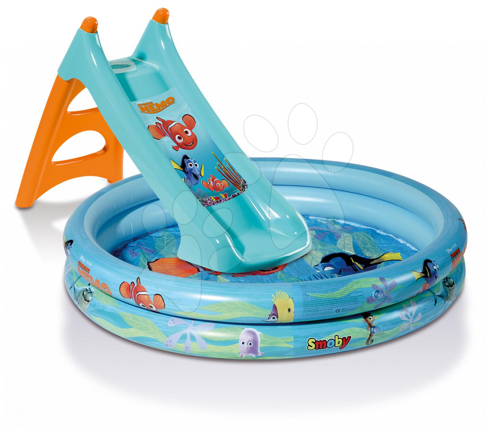 Tobogane pentru copii - Tobogan Nemo Smoby cu piscină şi cu umiditate cu lungime de 90 cm de la vârsta de 24 de luni de la 24 luni