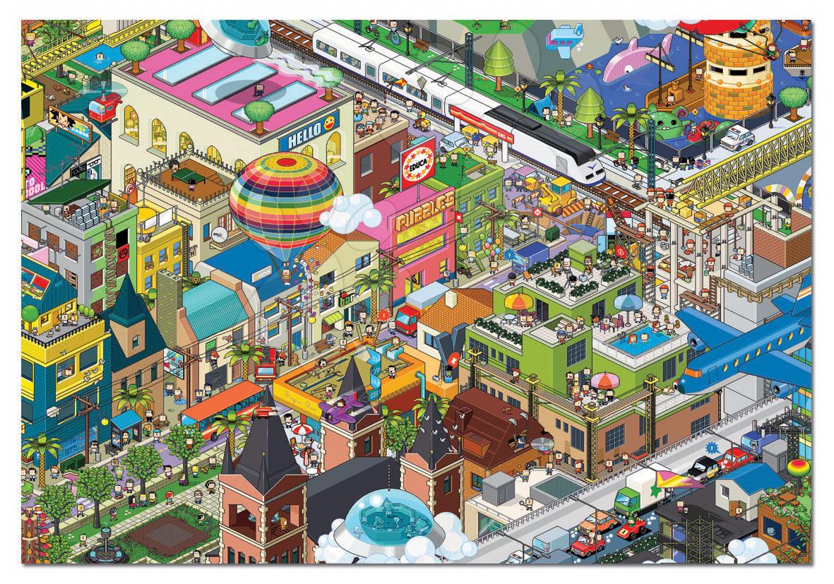 Puzzle Pixel A Day in the City Educa 1000 dílků a FIX PUZZLE LEPIDLO
