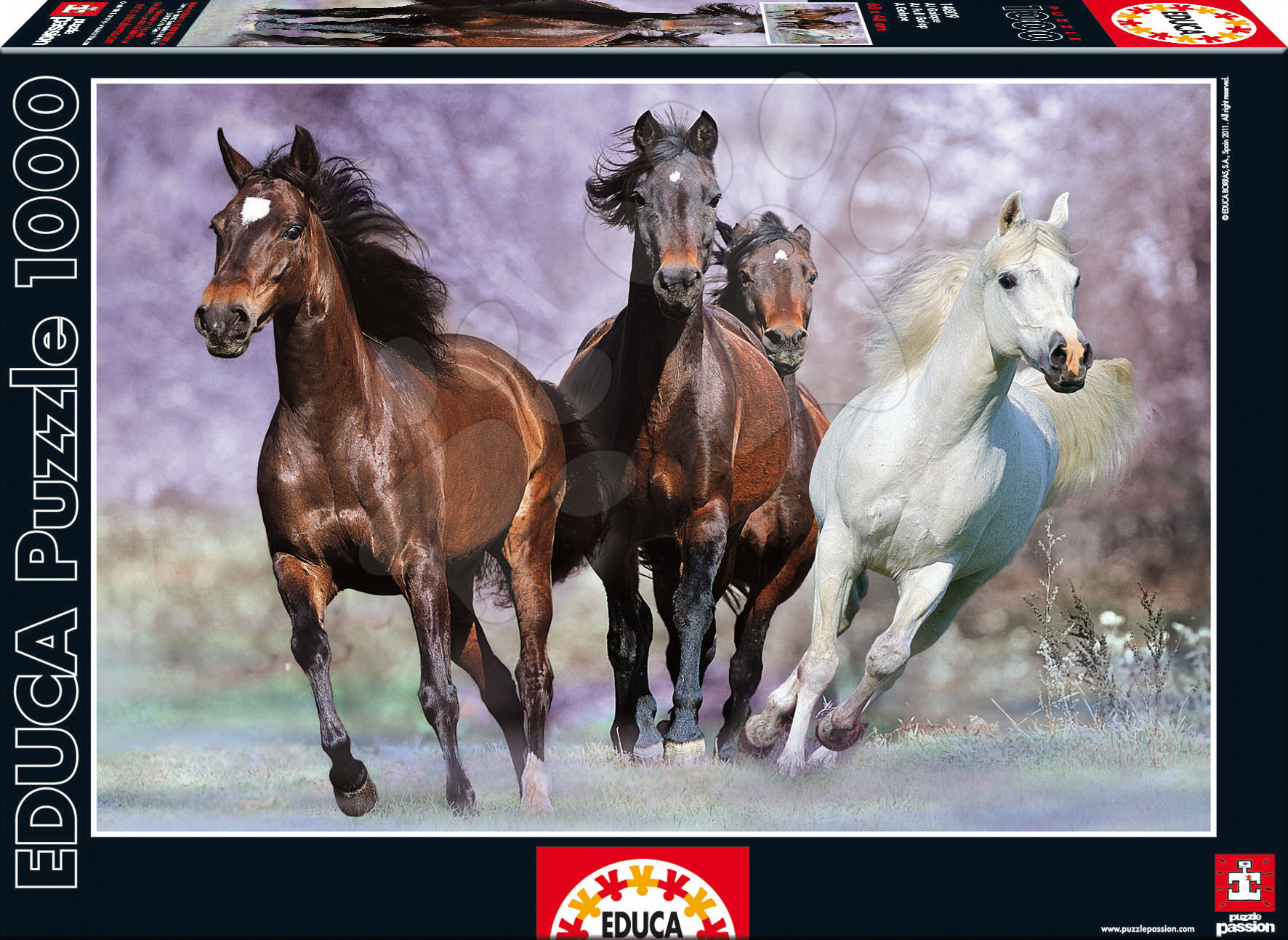 Educa 14809 PUZZLE 1000 delov Bežiace kone 68 x 48 cm+ FIX PUZZLE LEPILO od 12 leta