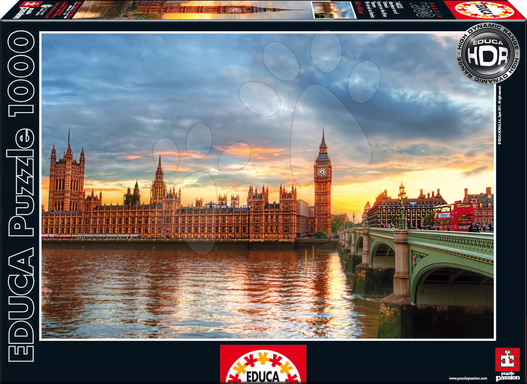 Puzzle 1000 dílků - Puzzle Sunset on the river Thames / London / Educa 1000 dílků a FIX PUZZLE LEPIDLO