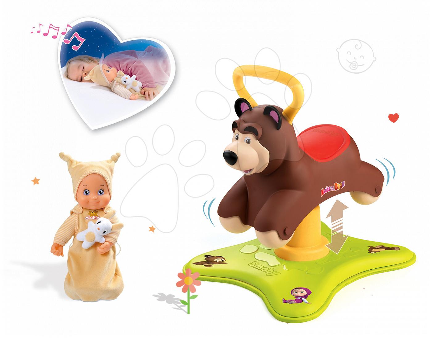 Set odrážadlo Máša a Medveď Smoby 2v1 skákajúci a točiaci sa a bábika so zvukom MiniKiss od 12 mes