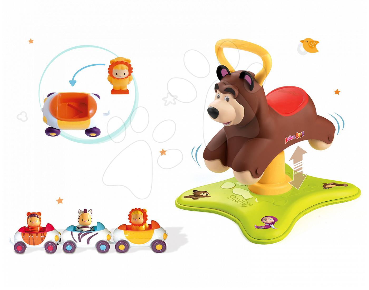 Set odrážadlo Máša a Medveď 2v1 Smoby skákajúci a točiaci sa a 3 autíčka Imagin Car Cotoons od 12 mes
