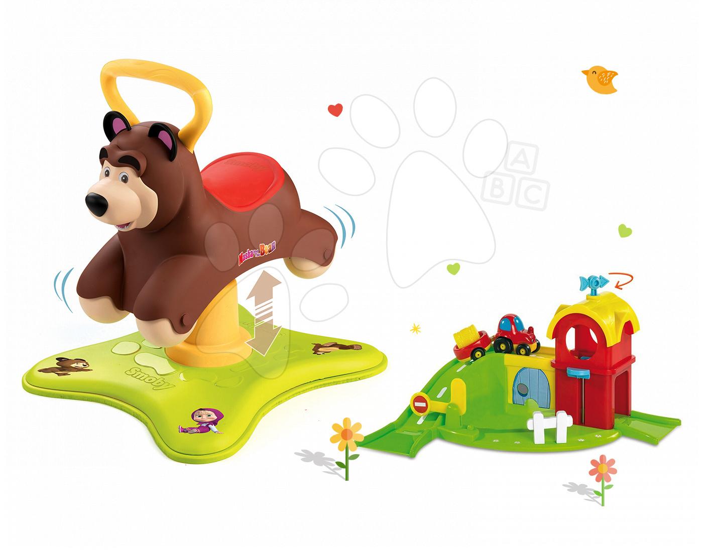 Set odrážadlo Máša a Medveď Smoby 2v1 skákajúci a točiaci sa a farma Vroom Planet s autíčkom od 12 mes