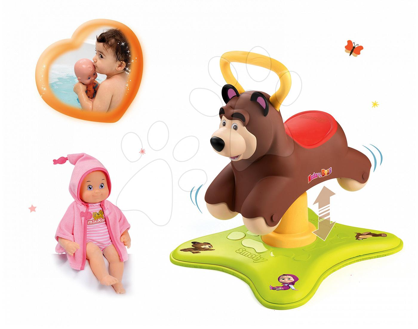 Set odrážadlo Máša a Medveď Smoby 2v1 skákajúci a točiaci sa a bábika MiniKiss na kúpanie od 12 mes