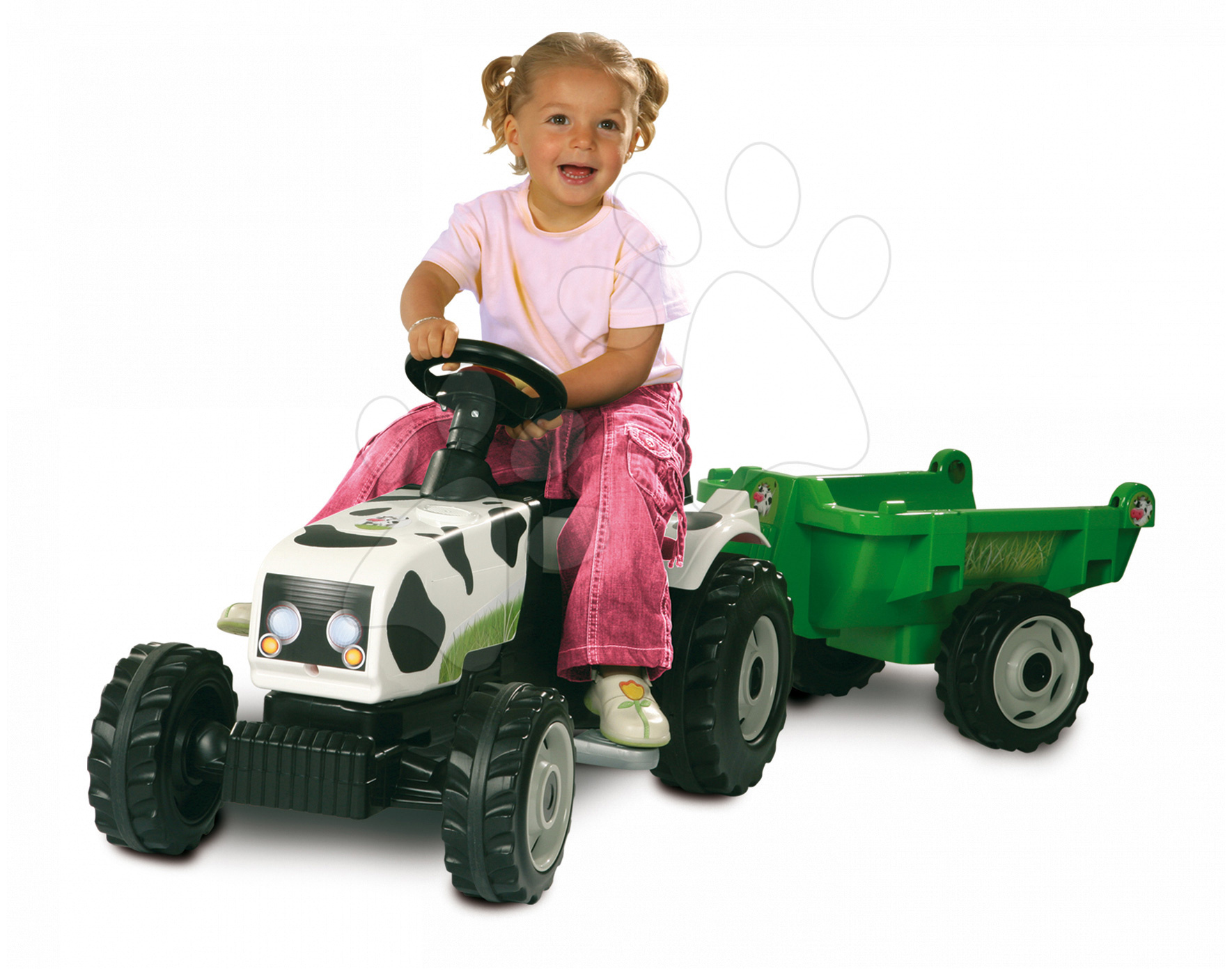 Pedálos gyermekjárművek - Pedálos traktor GM Tehénkés mintáva Smoby pótkocsival fehér-fekete