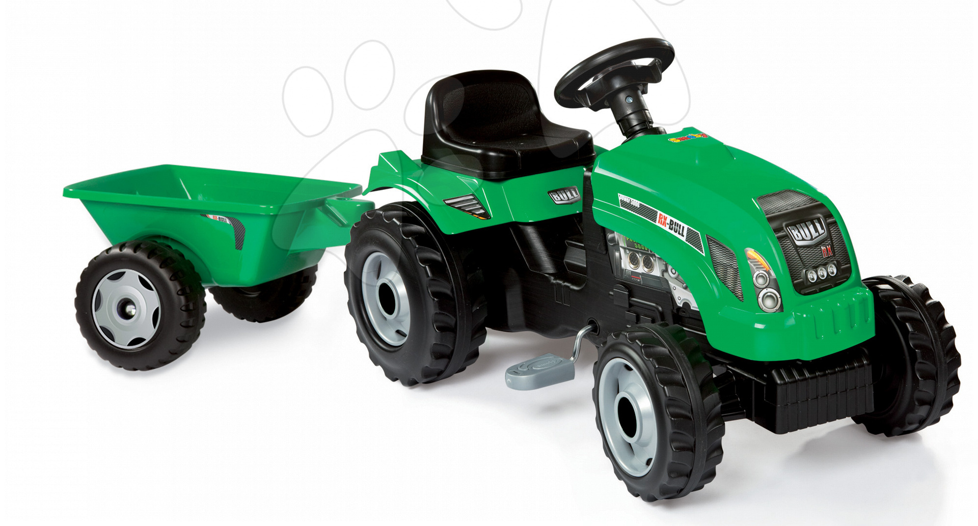 Dětská šlapací vozidla - Traktor na šlapání RX Bull Smoby s přívěsem zelený