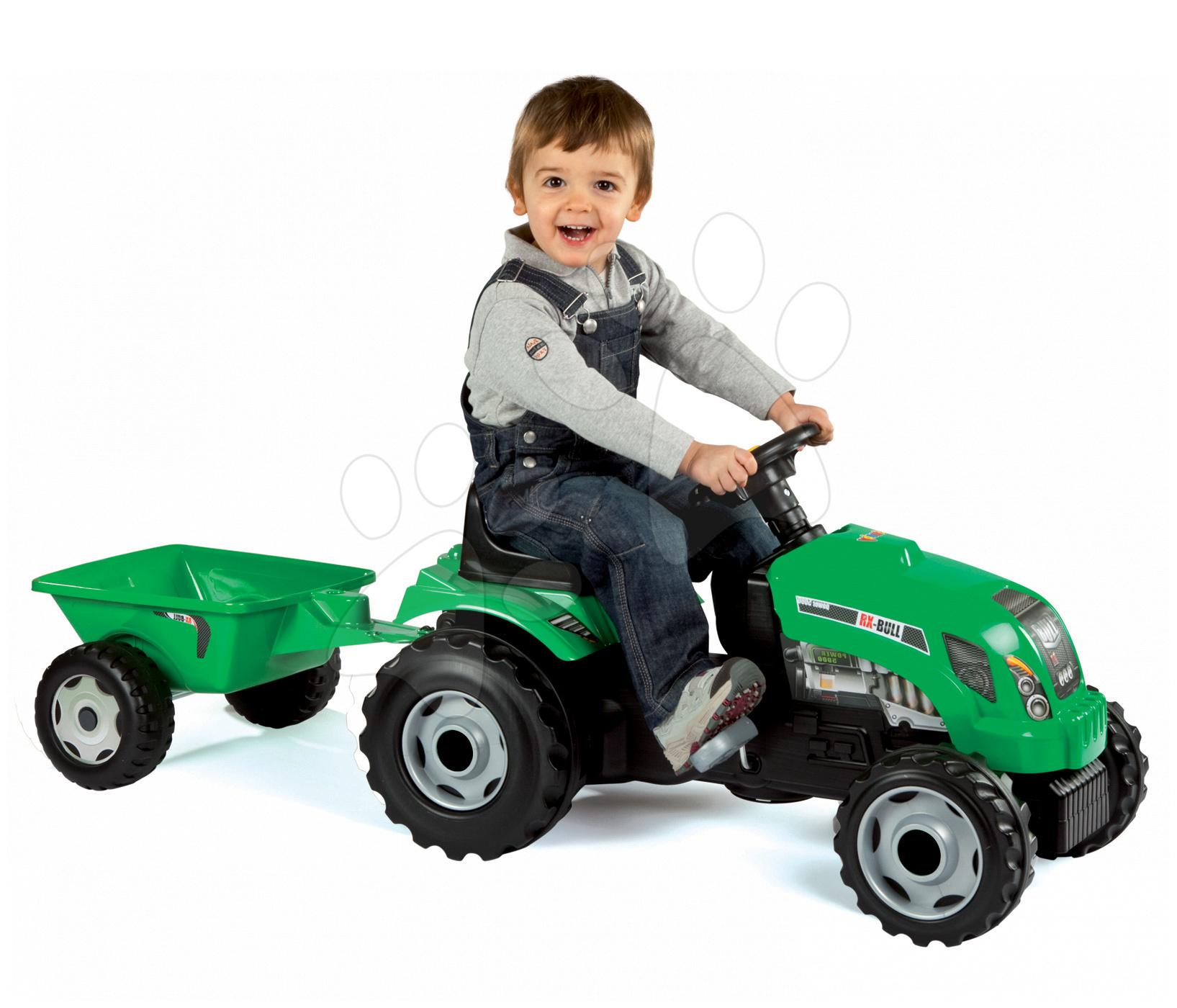 Vehicule cu pedală pentru copii - Tractor cu pedale Smoby cu remorcă verde