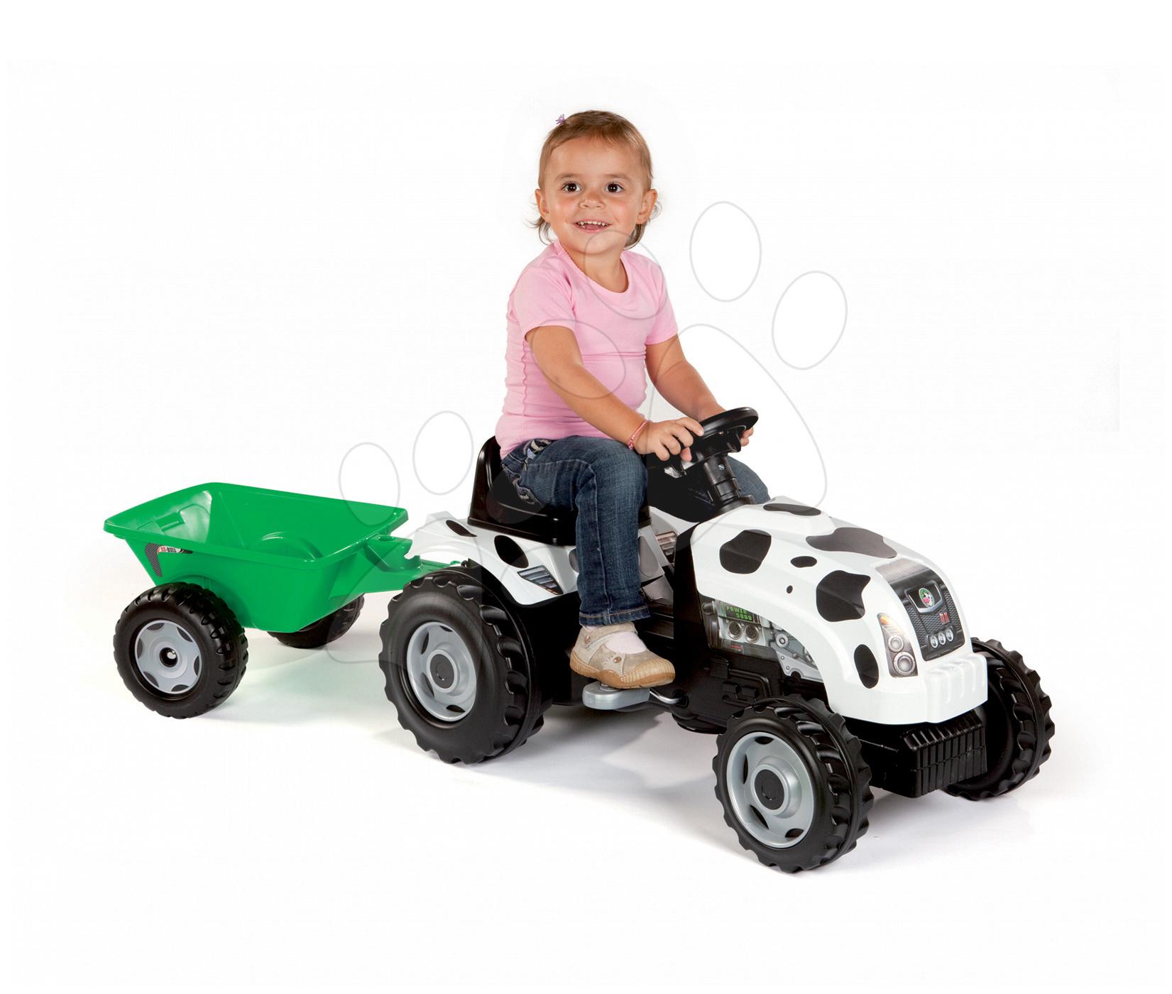 Traktor na šliapanie Bull Kravička Smoby s prívesom bielo-čierny